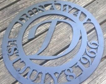 Custom Metal Monogram Sign - EST Family Sign
