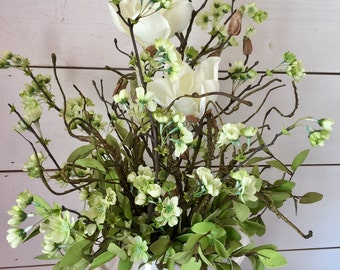Spring floral arrangement, farmhouse arrangement, table arrangement, table decor, farmhouse decor, rustic arrangement, French country decor