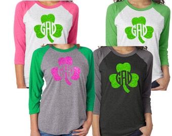Adult Monogram St. Patrick's Day Shirt|Glitter Monogram Shamrock