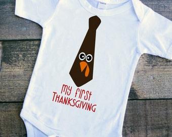 My first Thanksgiving baby boy turkey tie bodysuit