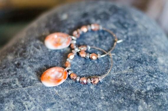 Creole MOLA MOLA Coral pink  - Seal shell Earring hoops creole - Eye of Santa Lucia