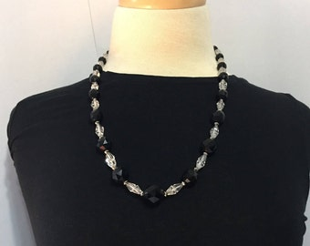 Crystal Necklace - Clear and Black Glass Beads - Vintage Crystal - Retro Crystal