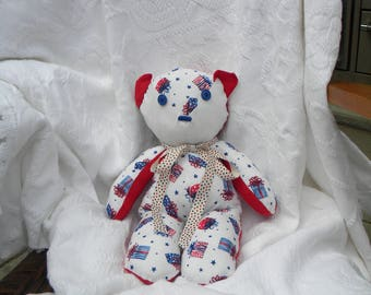 Shabby Chic Teddy Bear. Vintage Red white blue. Vintage buttons. Patriotic Decor. Home Decor. Nursery Decor. One-of-a-Kind.
