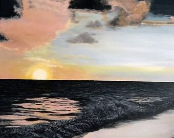 Punta Cana Sunset - Acrylic on Canvas Seascape