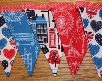 British theme bunting, london theme bunting, British banner, london theme banner