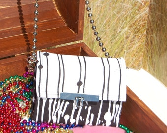 Wallet,MINI Necessary Clutch Wallet, Mini Cross body bag, Black and White wallet, Clutch, accordion wallet
