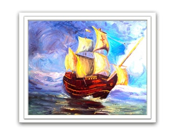 Original oil painting  Ship  marine  canvas singed impression artwork fine gift