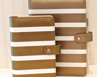 A5 Planner Binder, Personal Planner Notebook, Copper Gold Stripe Leather Notebook, Personal Planner Binder, Personal Organizer, A5 Binder