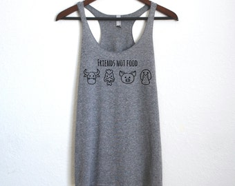 Friends Not Food - Vegan/ Vegetarian Tank Top - Animals