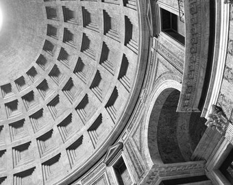 Pantheon dome, Rome, Italy, Roman architecture, black & white photography, travel decor, Italy home decor, fine art photography,travel print