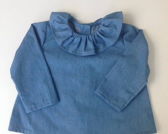 Chambray Tunic with frilled collar