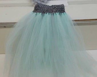 Silver and Mint Tutu with Matching Headband