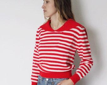 Vintage 1980s Striped Sailor Sweater   Clovis Ruffin Sweater   Red and White Striped Sweater   Sailor Top   Pullover Sweatshirt