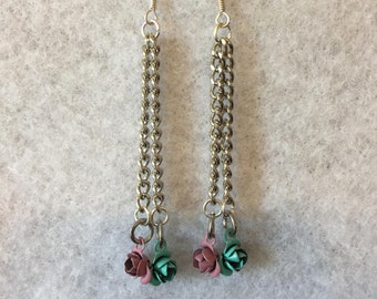 Blue & Pink Rose Earrings