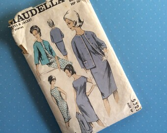 """Vintage Sewing Pattern - Maudella 5323 - Retro 1950's 1960's Dressmaking Pattern - Dress & Jacket Sewing Pattern - Bust 34"""" Hip 36"""" Sewing"""