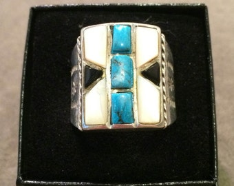 Vintage Turquoise, Mother of Pearl, Jet Sterling Silver Ring Size 12 1/4