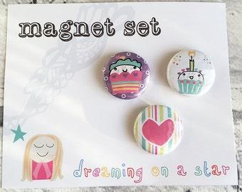 Kawaii Magnet, Fridge Magnet, Kawaii Cupcake, Kawaii Stationery, Cute magnets, Party Favors, Cute Gift, Magnet Set, Round Magnet, Birthday