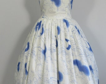 90s PRADA Voile RAW EDGE Finish Sketchy Blue & White Summer Dress-12 Prom, Wedding