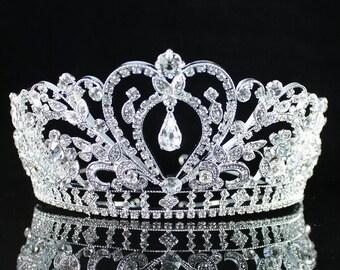Gorgeous Full Crown Clear Austrian Crystal Rhinestone Tiara Pageant Bridal - Glittery Clear Queen Crown - Sparkly Crystal Wedding Diadem