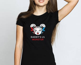 Daddy's lil monster, Harley Quinn Shirt, DC Comics, Cat Shirt, Cat Print, Harley Quinn Costume, Suicide Squad, Harley Quinn, Cat Shirt, Swag