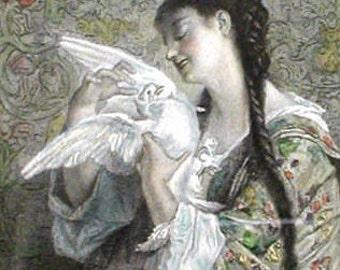 THE PRISONER by Antoine Bourlard 1878 Antique Hand Colored Engraving Framed Romantic Victorian Original Art Print