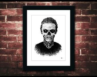 "Tate Langdon Typography, 9x12""/ 11x14"" PRINT, American Horror Story, Murder House, Skeleton, Tattoos, Evan Peters, Skull, Minimalist"