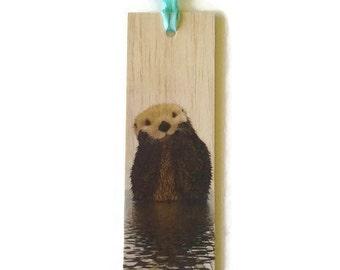 Wooden bookmark - Wood bookmark - Otter bookmark - Animal bookmark - Otter - Cute bookmark - Handmade bookmark - Unique bookmark