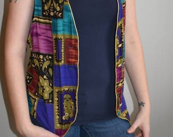 90s Vintage Vest // Gold Trim Colorful Button Up Vest