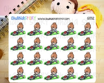 Janine MOWS THE LAWN Planner Stickers (G1732)