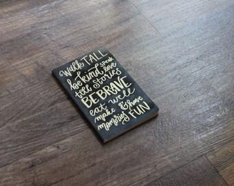 Mantra hand lettered embossed moleskine journal
