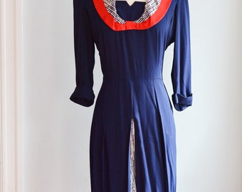 1940's Navy Dress with Bow Detail/Waist 30""