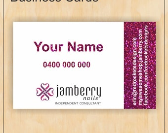 Business Cards for Jamberry Nails - Pink faux glitter - Digital PDF file