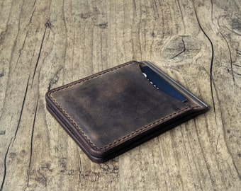 Leather wallet with money clip money clip wallet card case minimalist handmade dark brown