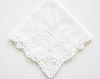 Irish Claddagh Cluny Lace Handkerchief, Monogrammed Embroidered Wedding Handkerchief