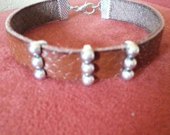 Fashion leather bracelet with silver Schiebeperlen unisex