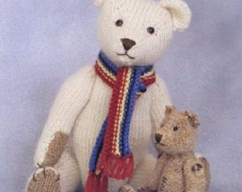 Jim and William Teddy Bear Knitting  Pattern , Toy knitting pattern by Sandra Polley, Teddy bear  toy pattern, teddy knitting pattern