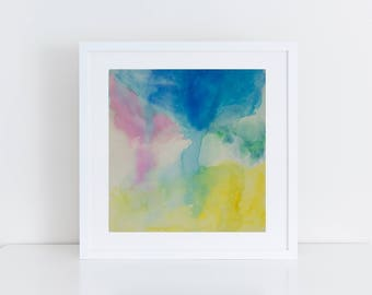 Hand painted watercolour, original watercolour, pink, blue, yellow painting, abstract painting