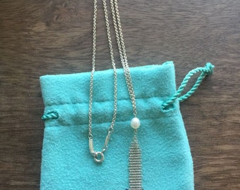 Unique Tiffany & Co. Sterling Silver Elsa Peretti Mesh Pearl Necklace - Stunning!