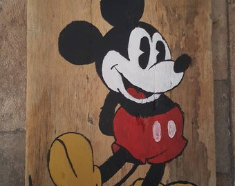Classic Mickey Mouse Wood Painting