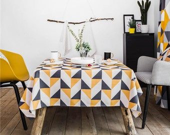 Summer Days Geometric Tablecloth / Outdoor Tablecloth / Indoor Tablecloth /  Linen Tablecloth / Picnic Tablecloth