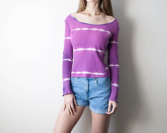 90s Vintage Tye Dye Purple Top