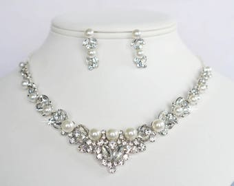 Vintage Inspired White Pearl and Fancy Shapes Crystal Rhinestone Necklace and Earring Set, Bridal, Wedding (Pearl-815)