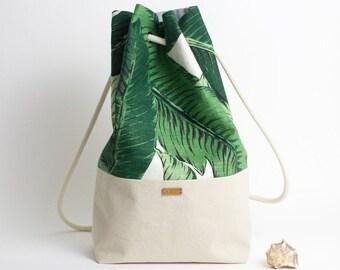Rucksack beach bag tropical palm leaf / linen canvas