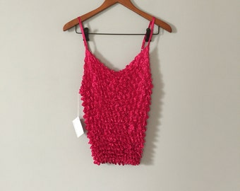pink pop corn top | 90s stretchy tank top