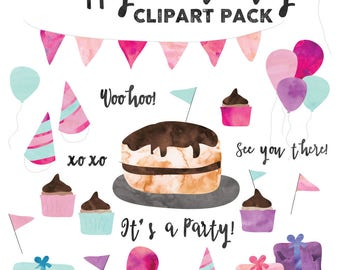 Birthday Party Clipart Pack | Pink