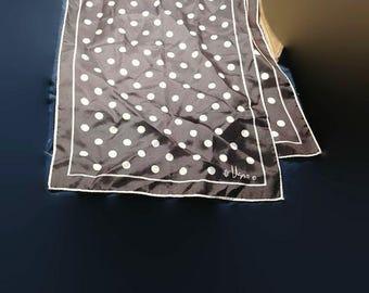 Vera black and white polka dot scarf mid-century modern  44in x 14in