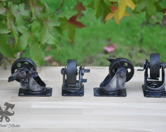 Set of four castors with brake, industrial, industrial, cast iron vintage cast-iron