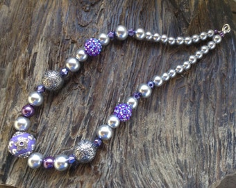 Purple and silver pearled set