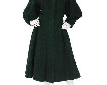 FLASH SALE Lilli Ann Early 1950's Vintage Iconic Lantern Sleeve Green Wool Princess Coat Sz M