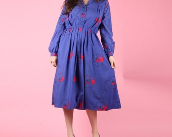 80s Vintage Purple Abstract Floral Dress